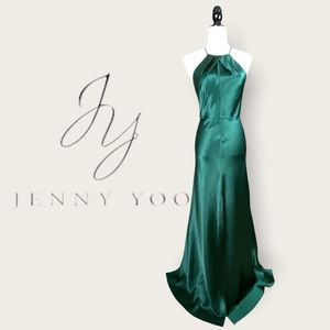 Jenny Yoo Forest Green Halter Satin Evening Gown 2